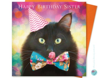 Sister Birthday Card Black Cat Kitten Lover uk Greeting Post Card Worldwide delivery HAPPY BIRTHDAY SISTER to from cat lover by Juniperlove