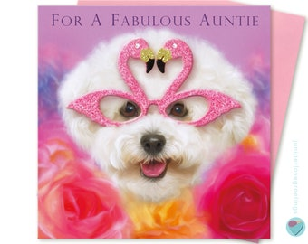 Auntie Birthday Card for her women's ladies Greeting Post Card FOR a FABULOUS AUNTIE to from the Bichon Frise dog puppy lover by Juniperlove