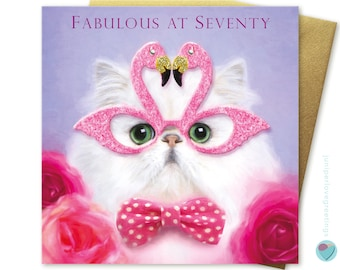 70th birthday card for women or men FABULOUS AT SEVENTY Persian wearing pink flamingo glasses to or from any Chinchilla cat kitten lover