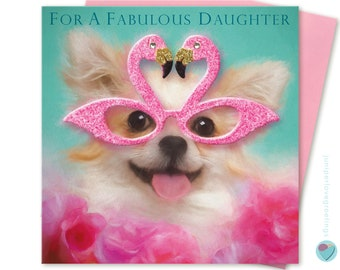 Daughter Birthday Card for her Chihuahua Dog Puppy Lover Greeting Post Card FABULOUS DAUGHTER to from the dog by Juniperlove