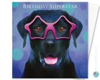Girls or Boys Birthday card for dog puppy lover men man women boys girls for him for her BIRTHDAY SUPERSTAR celebration by Juniperlove UK