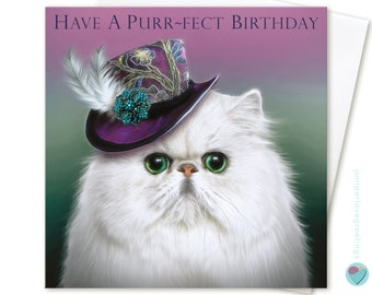 Girls ladies Cat Birthday Card HAVE a PURRFECT BIRTHDAY mini top hat with feather to from the white Persian Chinchilla cat kitten lover