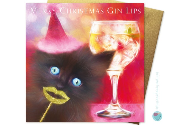 Kitten Christmas.Black Cat Kitten Christmas Card For All Gin And Tonic Friends And Family To Mum From The Cat Black Cat Kitten Uk Designer Worldwide Delivery