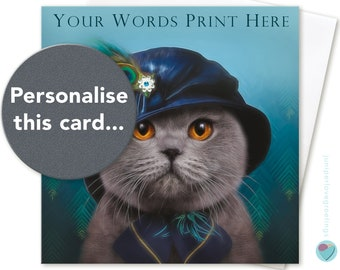 PERSONALISED 30th 40th 50th 60th 70th 80th Birthday Card Girls Women AGE NAME or relation to or from British Blue Cat lover by Juniperlove