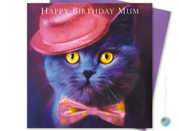 Mothers Day Card Mum Birthday Ginger Cat any occasion from the cat juniperlove