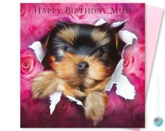 Mum Birthday Card Yorkie YORKSHIRE TERRIER 'Happy Birthday Mum' Puppy Bursting Gift Wrap to or from dog lover by Juniperlove Greetings UK