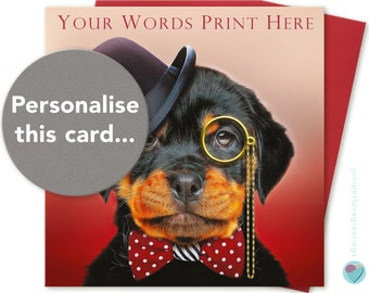 PERSONALISED Boys or Mens Birthday Card Grandson Dad Brother Nephew Uncle Grandad Son Friend to or from Rottweiler Dog Puppy Lover
