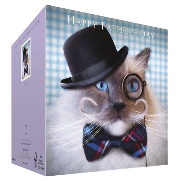 Father/'s Day Dad Card Birthday Funny Cat Friend Moustache Bowler Hat Monocle