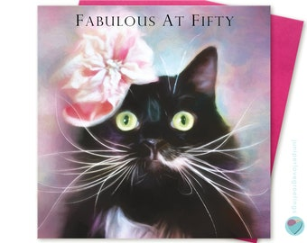 50th Birthday Card post card Cat Lover Kitten Love Girls Women Lady cat show special friend to or from Black Tuxedo Cat lover Juniperlove