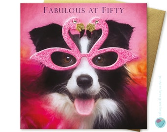 50th Birthday Card for her Fabulous lady women sister female BORDER COLLIE mum Dog Puppy lover UK greeting from the dog worldwide delivery