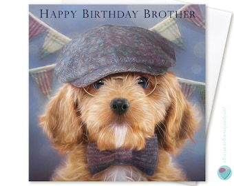 Brother Birthday Card for Boys Men Him HAPPY BIRTHDAY BROTHER to or from Cockerpoo Cockapoo Spaniel Dog Puppy Lover by Juniperlove uk