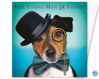 18th Birthday Card FINE YOUNG MAN 18 Today! for him boys men greeting to or from the Jack Russell Terrier Dog Puppy Lover by Juniperlove