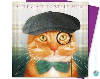 MUM Birthday Card Ginger Tabby Cat Kitten Lover from the cat Any Occasion Greeting Retirement Mother's Day UK designer WORLDWIDE delivery