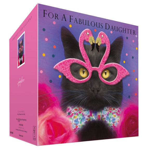 Daughter Birthday Card Girls Women FABULOUS DAUGHTER to from Black Cat lover