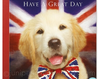 Labrador Dog Dad Card Birthday Father's day Retriever Puppy Union Jack Flag Bow Tie Puppy 'Have A Great Day'