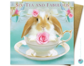 60th Birthday Card for her lady women SIX-TEA and FABULOUS Vintage Tea Cup Pink Roses to or from Dwarf Lop Bunny Rabbit Lover by Juniperlove