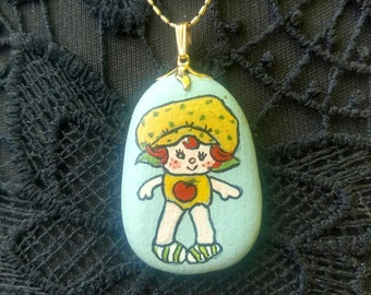 Vintage Strawberry Shortcake Hand Painted Necklace