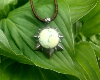 Vintage Stone 925 Silver Necklace With Leather cord