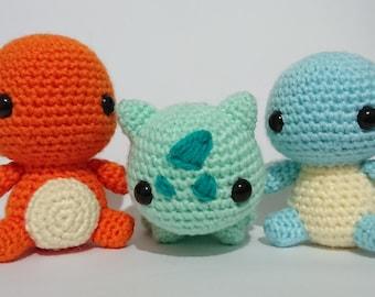 Pokemon Inspired Gen 1 Starters Amigurumi