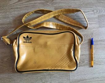 Adidas vintage yellow leather bag 70s f67bf987fee1e