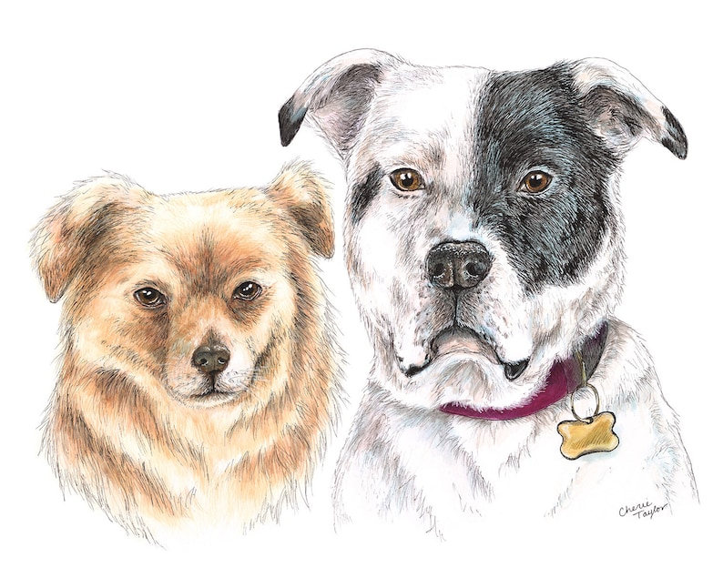 Ink and Watercolor Pet Painting Dog Portrait Watercolor image 0