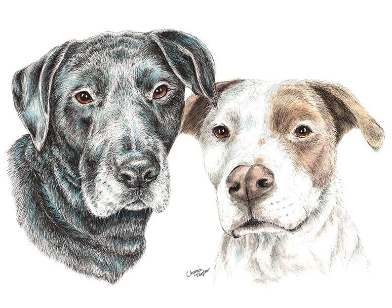 Custom Pet Painting Dog Portrait Ink Dog Portrait image 0