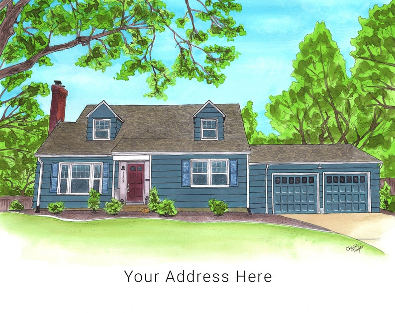 Personalized Housewarming Gift Painting of Home Painting image 0