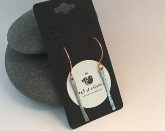 Copper & Hammered Sterling Silver Earrings