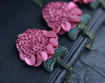 Pink Peony Flower Pin Brooch made of Italian sequins 60910fae2897