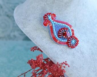 Paisley Brooch Bead Embroidery Boho Brooch Folk Style Jewelry Indian Paisley Design