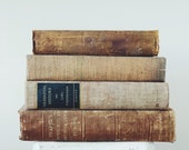 Vintage Decorative Books for Display, Tan, Brown, Gold Old Books for Rustic Farmhouse or French Country Decor