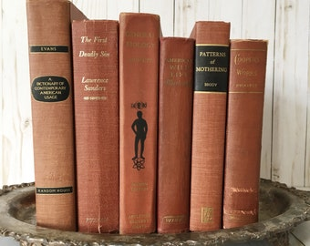 Vintage Copper Rust Colored And Black Book Set For Midcentury Bookshelf Decor Literary Wedding