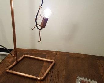 Unique Bespoke Copper Pipe Climbing Man Desk Table Lamp Light Man Cave Office Decor