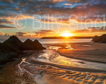 041 Three Cliffs Bay at Sunset, Gower, Wales, UK