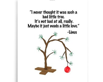 Charlie Brown Tree Christmas Linus Quote Art Little Peanuts Multiple Sizes