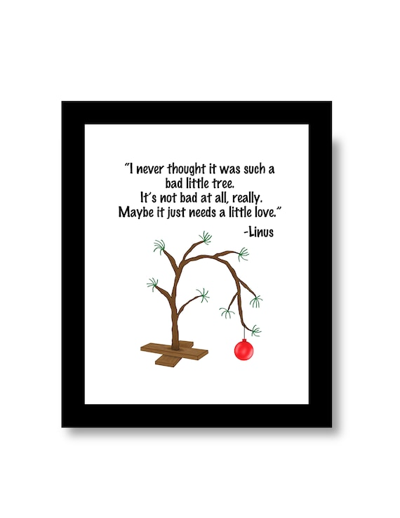 Charlie Brown Tree, Charlie Brown Christmas, Linus Quote, Charlie Brown  Art, Charlie Brown Little Tree, Peanuts Tree, Multiple Sizes