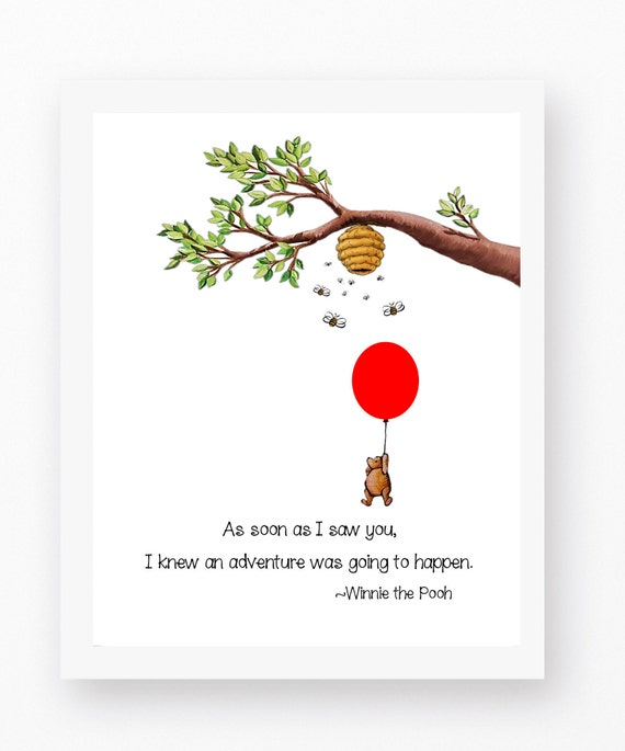 Winnie The Pooh, Pooh Quotes, Red Balloon Art, Pooh Bear Decor, Winnie Pooh  Prints, Pooh Bear Prints, 100 Acre Woods, Red Balloon Print