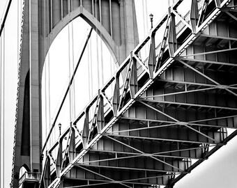 St Johns Bridge Details 1, Closeup, Portland Photography, Pacific NorthWest bridge Photography, Large Wall art, Fine Art Prints, Bridge Art