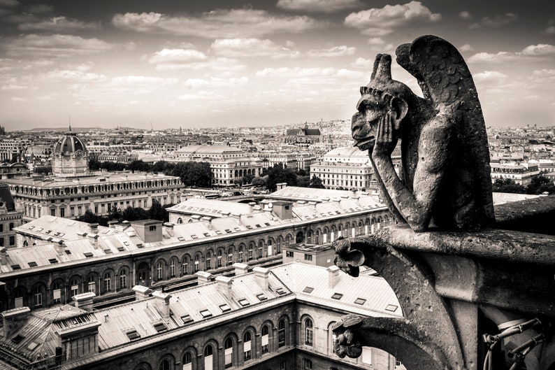 Sepia Black And White Photograph Of Gargoyle At Notre Dame Cathedral In Paris