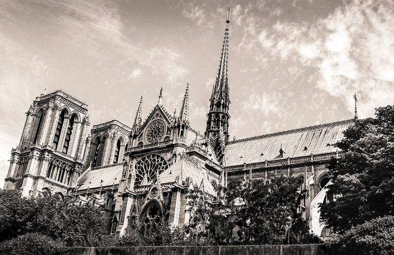 Sepia Black And White Photograph Of Notre Dame Cathedral In Paris Available As Fine Art Print Canvas Print Or Framed Art