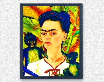 Frida with two monkey - portrait painting | Frida Kalo poster digital download