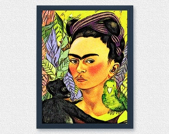 Frida portrait with monkey painting oil | Frida Kalo poster digital download