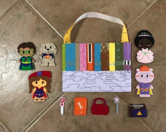Felt Super Why finger puppet set with bag, pretend play for ages 1-6, dramatic play, imagination, travel toy, gift for kids, Christmas