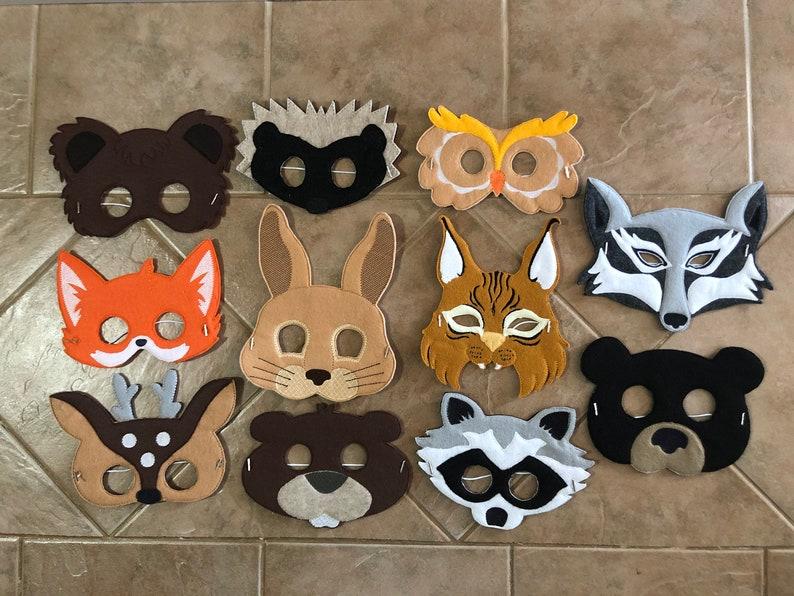 Felt Woodland Animal Masks pretend play for ages 1-10 image 0