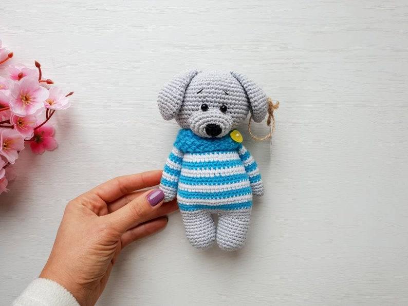 handmade knitted puppy Stuffed dog Amigurumi crochet dog toy