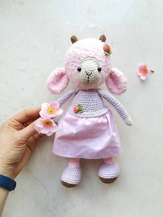 Pink Lamb Crochet Sheep Amigurumi Stuffed Toy Nursery Decor Etsy