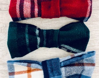 Flannel Dog Bow Tie