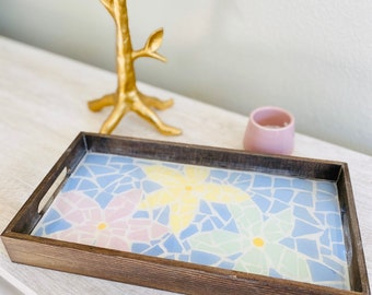 Floral Mosaic Decorative Tray