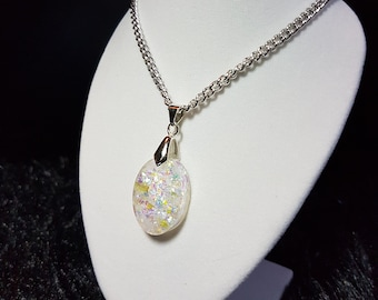 Faux White Opal Oval Resin Pendant Necklace