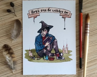 Witch boy A5 print watercolor illustration